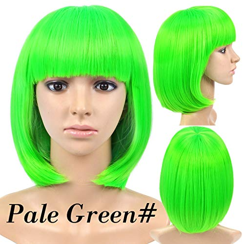 Short Straight Hair Wigs Women'S Bob Style Full Head Wig Heat Resistant Synthetic Real Thick Black Brown Blonde Hair,Green,14inches]()