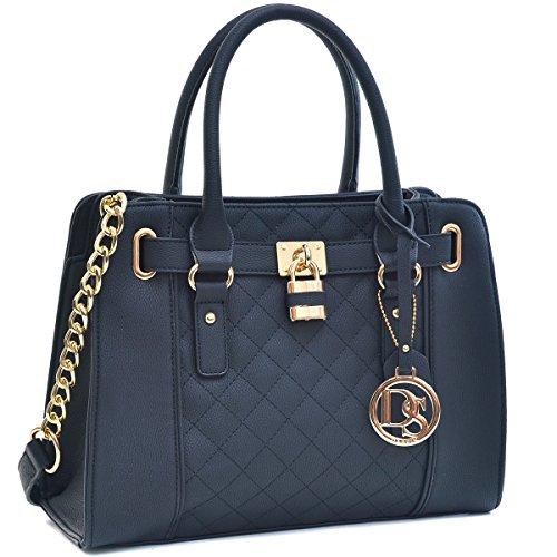 Dasein Womens Handbag Fashion Padlock Shoulder Bag Structured Satchel Bag Designer Purse - Designer Quilted Handbags