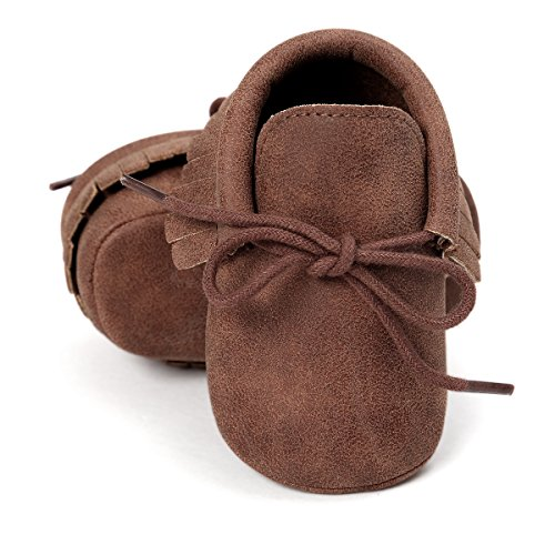 Royal Victory RVROVIC Baby Boys Girls Moccasins Soft Sole Tassels Prewalker Anti-Slip Shoes (M:6~12 Months, PU Dark Brown)