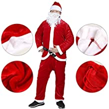 Christmas Santa Claus Costumes Plush Boy's Pub Flannel Crawl Santa Suit Xmas Suit