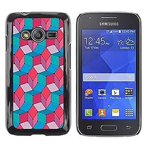 FECELL CITY // Duro Aluminio Pegatina PC Caso decorativo Funda Carcasa de Protección para Samsung Galaxy Ace 4 G313 SM-G313F // Teal Pink Red Blue Pattern Abstract