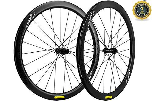 Superteam 45/25mm Tubeless Wheel Disc Brake Road Bike Wheelset with Sapim CX-Ray Spokes (Thru-Axle Type Front 12100mm Rear 12142mm)