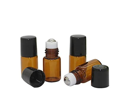 3pcs Botellas de vidrio para aceites esenciales Roller Botellas Attar botella con Metal acero inoxidable Roll