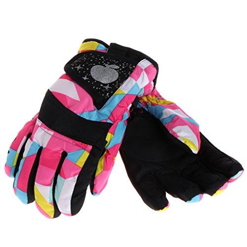 ULKEME Winter Boys Girls Kids Windproof Outdoor Ski Snowboard Thick Warm Finger Gloves (L, parquet)