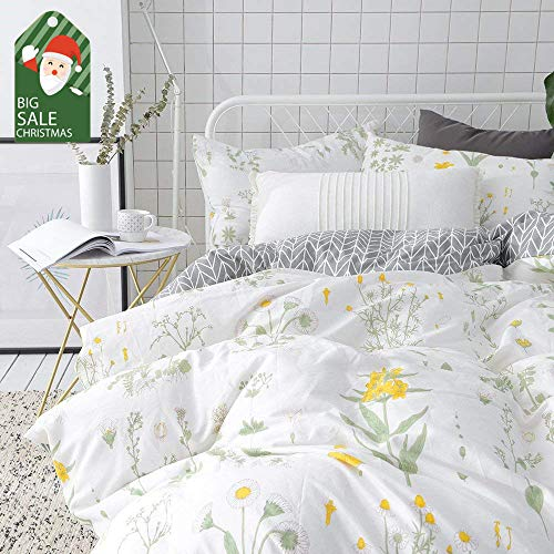 VClife Floral Duvet Cover Sets Full Queen Bedding Sets White Yellow Flower Branches Design Bedding Duvet Cover Sets Cotton Comforter Cover Sets for All Season Queen -