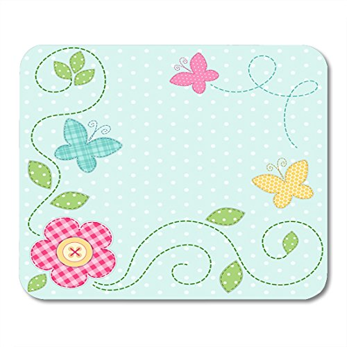 Nakamela Mouse Pads Shabby Dot Cute Retro Spring As Patch Applique of Flowers and Butterflies Baby Patchwork Mouse mats 9.5