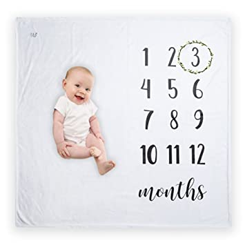 b3eb90538 Premium Mink Fleece Baby Milestone Blanket for Newborn, Infant, Boys &  Girls - Bonus