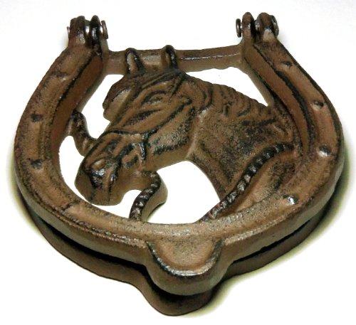 Cast Iron Horse Head and Horseshoe Door Knocker Cowboy Western Southwestern Texas