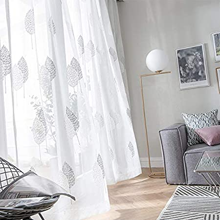 40 W x 63 L WINYY Floral Sheer Curtain Panel Embroidered Leaf Tulle Curtain Drape for Living Room Bedroom Kitchen Balcony Linen Polyester Blend Window Yarn Rod Pocket Top Voile 1 Panel