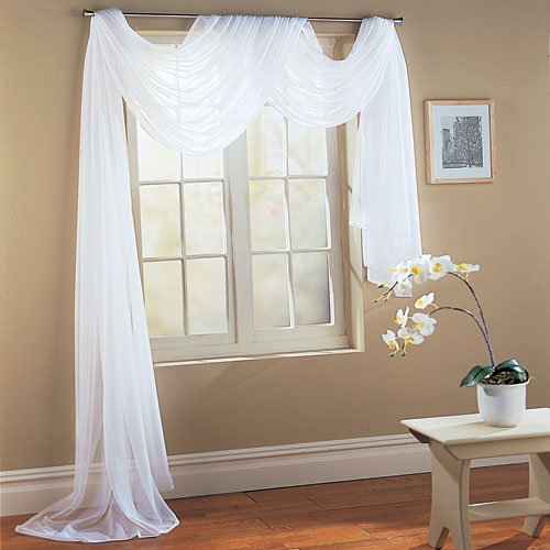 Luxury Discounts Beautiful Elegant Solid Sheer Scarf Valance Topper Long Window Treatment Scarves (55 x 216 - Scarf, White)