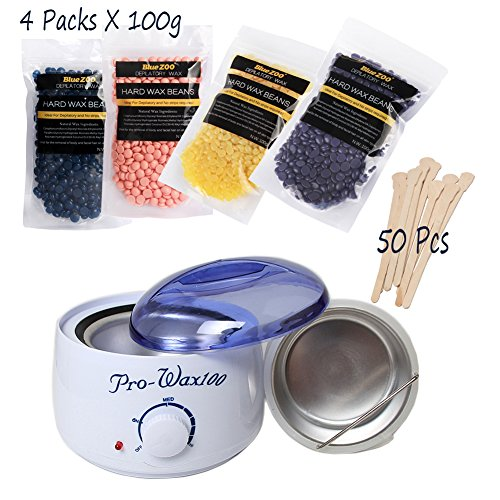 Spdoo Hair Removal Waxing Kit Electric Hot Wax Warmer+ 4 Different Flavors (Chamomile, Rose, Lavender, Honey) Hard Wax Beans + 50 PCS Wax Spatulas