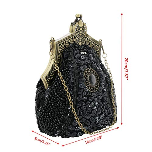 Evening Bags Wedding Clutch Party Cocktail Beaded Bridal Shoulder Black Bag Purse Wanfor Vintage 1RnTE
