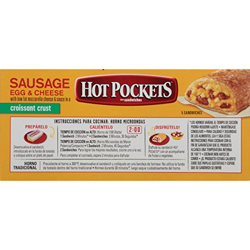 Hot Pockets Frozen Sandwiches Sausage, Egg & Cheese, 22.5 oz, 5 ct ...