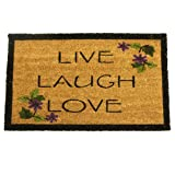 Rubber-Cal ''Live, Laugh, Love'' Novelty Contemporary Doormat, 18 x 30-Inch