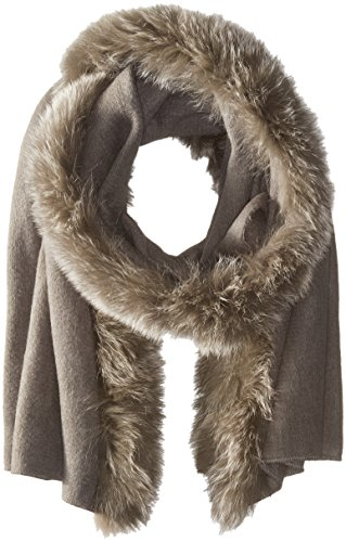 La Fiorentina Women's Ruana with Fur Trim, Grey, One Size by La Fiorentina