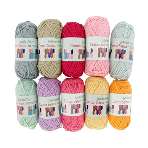 BambooMN Brand - Cotton Select Bonbon Yarns - Assortment 95 (Color E) - 10x 10g Solid Color Mini Ball - 1 Pack