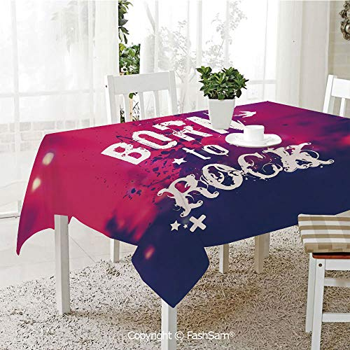 AmaUncle Party Decorations Tablecloth Blurred Splashy Rock Concert Stage and Crowd Grunge Artistic Phrase Print Decorative Kitchen Rectangular Table Cover (W60 xL104) -