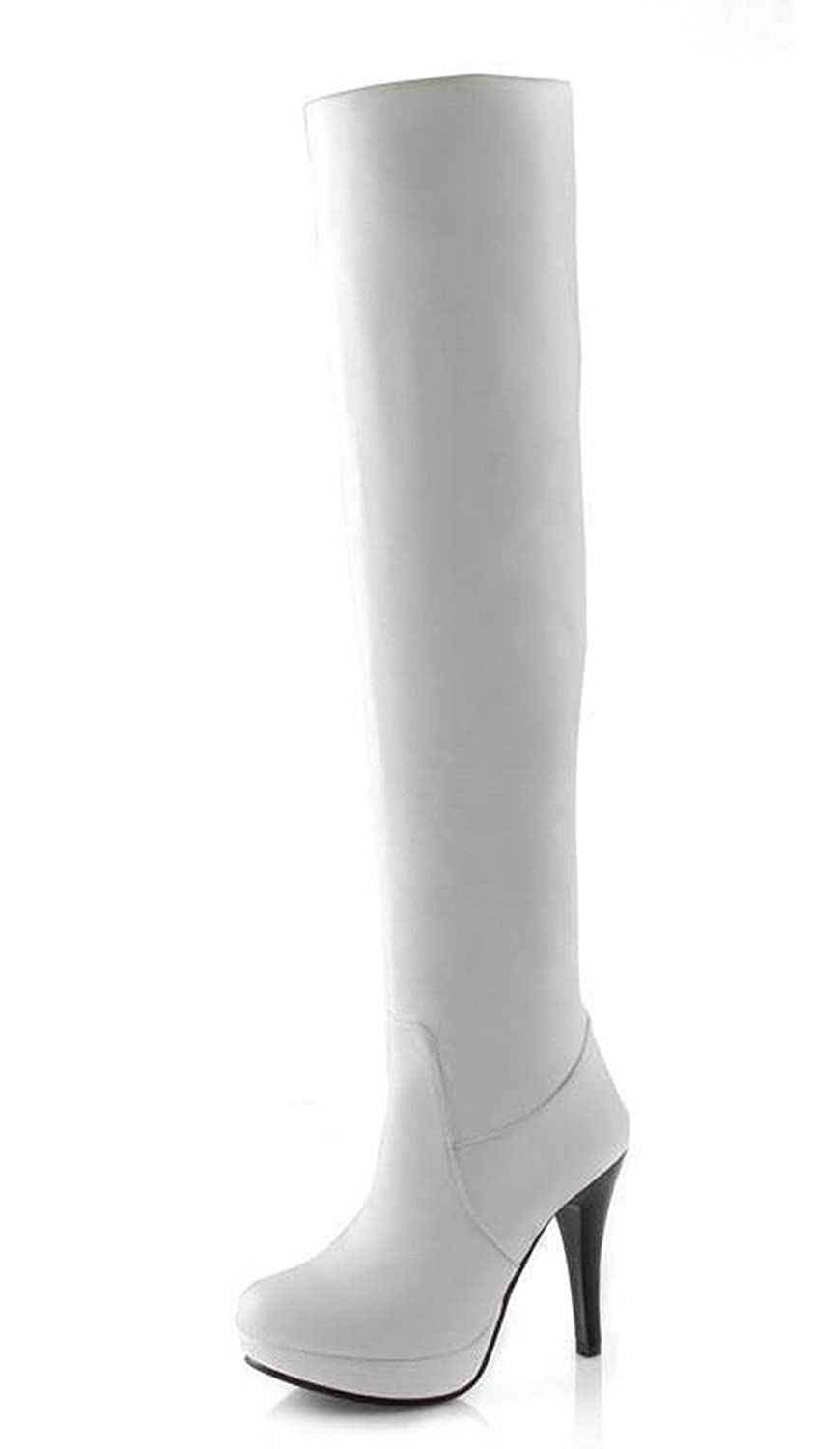 WeiPoot Womens Solid Round Closed Toe Soft Material PU Above-The-Knee Boots