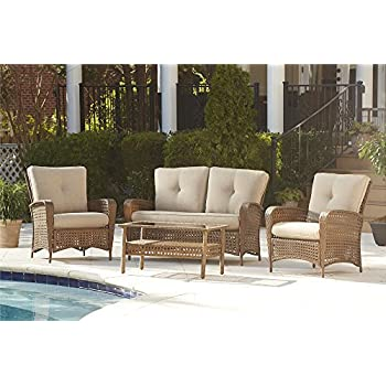 Cosco Outdoor 4 Piece Lakewood Ranch Steel Woven Wicker Patio Furniture  Conversation Set With Cushions And