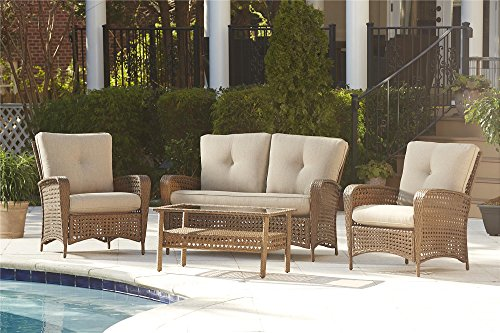 "Cosco Outdoor Conversation Set with Cushions and Coffee Table, 4 Piece, Amber Wicker with Tan Cushions - Cosco's Outdoor Lakewood Ranch collection features a sturdy powder coated steel frame wrapped in weather resistant resin wicker Outdoor conversation set has a durable powder coated steel frame wrapped in easy to clean resin wicker Dimensions are: outdoor loveseat 55.12"" L x 32.48"" W x 34.45"" H, outdoor chairs 31.5"" L x 32.48"" W x 34.45"" H, coffee table 37.8"" L x 20.87"" W x 18.31"" H - patio-furniture, patio, conversation-sets - 51gtPuEMsqL -"