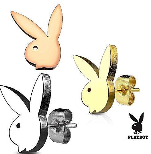 3 STAINLESS STEEL PLAYBOY EARRINGS BUNDLE - Mens Earrings Playboy