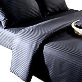 Homescapes Drap Housse Noir de Luxe avec rayures effet Satin pour 2 personnes de 180 x 200 cm en pur coton d'Egypte 330 TC(qualité percale 130 fils/cm²)