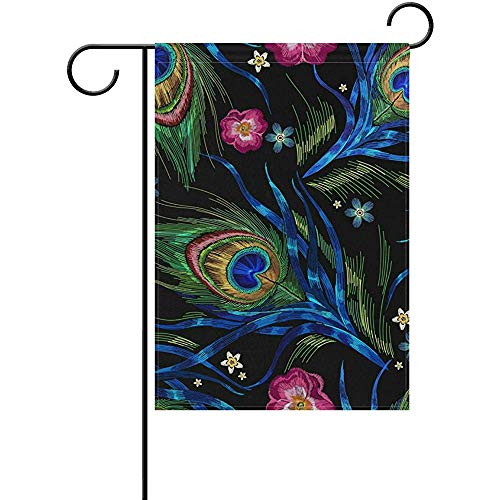 - Starotor Peacock Feathers and Roses Flowers Garden Flag Double Sided House Yard Flag Holiday Seasonal Outdoor Flag 12
