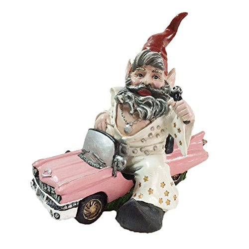 "Nowaday Gnomes - ""Vegas"" the Look-a-Like Elvis Gnome In His Pink Cadillac Car Garden Gnome Statue 14""H"