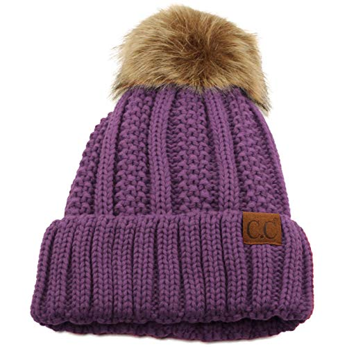 Winter Sherpa Fleeced Lined Chunky Knit Stretch Pom Pom Beanie Hat Cap Solid Violet