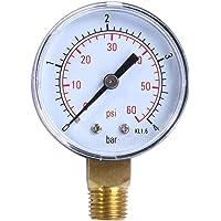 Lorsoul 0-4bar 0-60psi BSPT Hilo Monte Manómetro de Aceite, medidor 50 mm de presión de Agua, compresor de Aire…