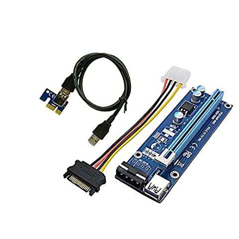 Panto Version 6 4-Pin MOLEX Powered PCI-E PCI Express Riser - VER 006S - 1X to 16X PCIE USB 3.0 Adapter Card - With USB Extension Cable - GPU Graphic Card Crypto Currency Mining (1 - Pcie Vga Box