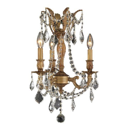 Worldwide Lighting Windsor Collection 3 Light French Gold Finish and Clear Crystal Mini Chandelier 13