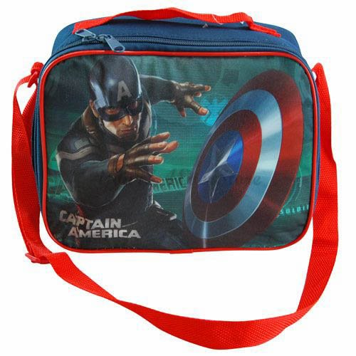 1 X Marvels Captain America Insulated Lunch Bag with Strap 10.2'' X 8'' X 4'' by Disney by Disney