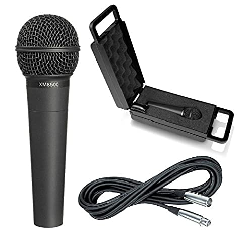 Behringer XM8500 + XLR Mic Cable - Ultravoice Dynamic Cardioid Vocal Microphone 8500 (Behringer In Ear Monitor System)