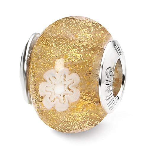 - Sterling Silver Reflection Gold and White Flower Italian Murano Bead