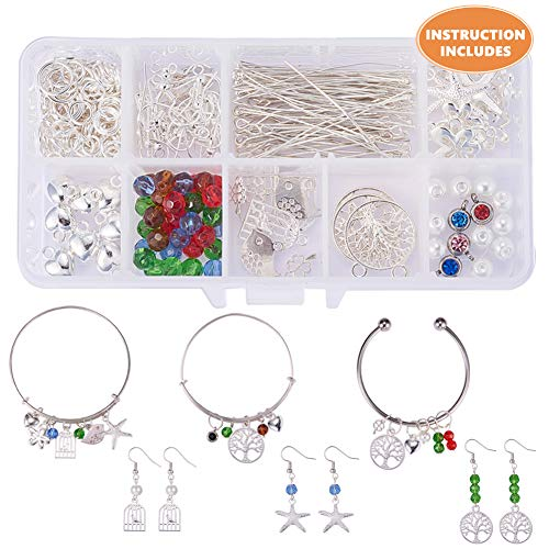 (SUNNYCLUE 1 Box 236pcs DIY Jewelry Making Kit Ball Closure Adjustable Wire Blank Bracelet Expandable Bangle with Charm Beads Pendant Arts Craft Supplies Instruction Included)