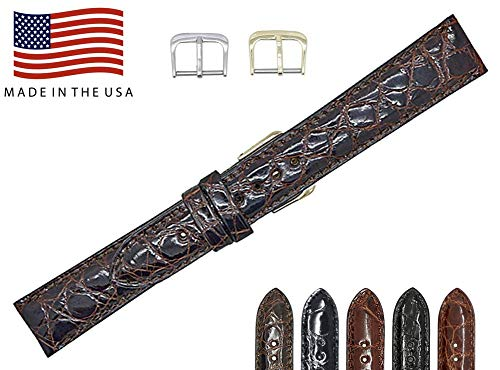 (22mm Brown Genuine Alligator - Padded Stitched – Glazed Shiny Smaller Tile – Watch Strap Band - Gold & Silver Buckles Included – Factory Direct - Made in The USA by Real Leather Creations FBA382)