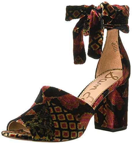 Sam Edelman Women's Odele Heeled Sandal, Black/Multi Foulard Patchwork, 9.5 Medium US