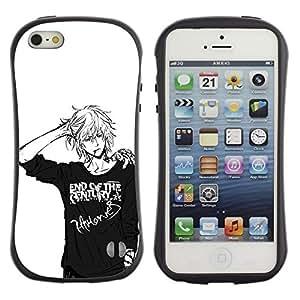 Suave TPU GEL Carcasa Funda Silicona Blando Estuche Caso de protección (para) Apple Iphone 5 / 5S / CECELL Phone case / / Japanese Anime Black White Guy /