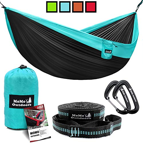 Lightweight Double Camping Hammock - Adjustable Tree Straps & Ultralight Carabiners Included - Two Person Best Portable Parachute Nylon Hammocks for Hiking, Backpacking, Travel & Backyard - Easy Setup (Hawaii Furniture Garden)