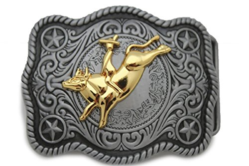 Angelwing Belt Buckle Cowboy Style Bull Rider Riding Classic Western Dark Silver Gold Rodeo (Buckle Skimmers)