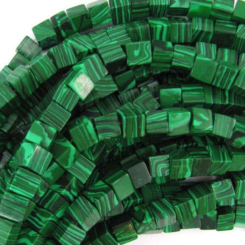 (ShopForAllYou Design Making 8mm Synthetic Green Malachite Cube Beads 15.5