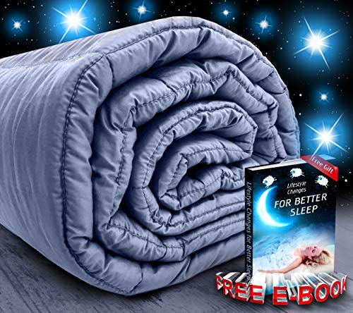Weighted Blanket 20 lbs 60x80 inches Queen Size   Premium Gravity Heavy Blanket   Great Sleep Therapy for People with Anxiety   Autism   ADHD   Insomnia or Stress   Cotton   Glass Beads