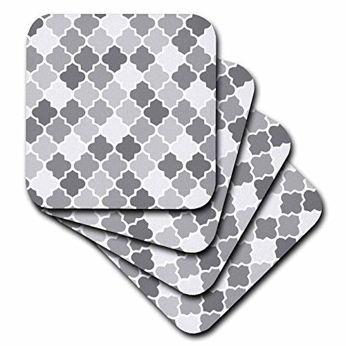 3dRose cst_120263_2 Gray Quatrefoil Pattern in Different Shades of Grey Trendy Moroccan Style Lattice Tiles Soft Coasters, Set of 8