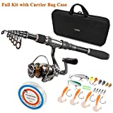 PLUSINNO Telescopic Fishing Rod and Reel Combos Full Kit, Spinning Fishing Gear Organizer Pole Sets with Line Lures Hooks Reel and Fishing Carrier Bag Case Accessories (1.8M 5.91Ft Fishing Full Kit)