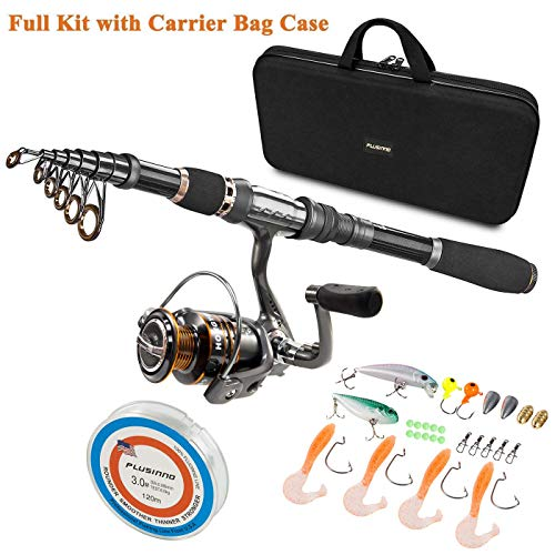 PLUSINNO Telescopic Fishing Rod and Reel Combos Full Kit, Spinning Fishing Gear Organizer Pole Sets with Line Lures Hooks Reel and Fishing Carrier Bag Case Accessories (Best Beginner Fishing Rod)
