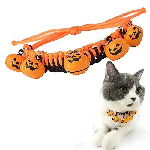 Halloween Cat Collar Dog Collar with Pumpkin Bells Strawberry Frog Christmas Thanksgiving Santa Claus Shape Bell for Dog Collar Necklace Adjustable