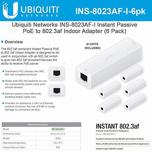 Ubiquiti Networks INS-8023AF-I Instant Passive 802.3af Adapter POE Device Indoor (6 Pack) by UBNT