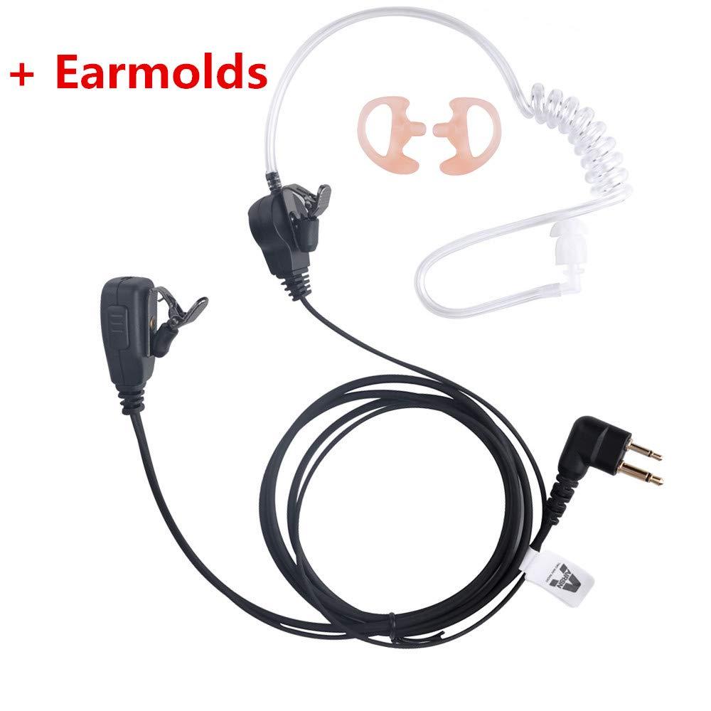 AIRSN FBI Earpiece for Motorola Radio CLS1110 1410 RDU4100 BPR40 Walkie Talkie with Acoustic Tube and PTT Headset