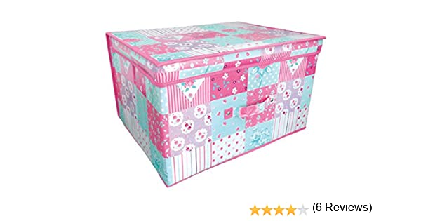Caja de almacenaje de juguetes con tapa, de gran tamaño, rectangular, diseño de patchwork de flores, 50 x 30 x 40 cm: Patchwork Floral Girls: Amazon.es: Hogar